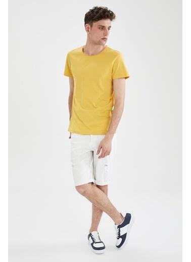 DeFacto Bisiklet Yaka Slim Fit Basic T-shirt Sarı